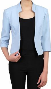 Blue 34 Sleeves Open Front Blazer