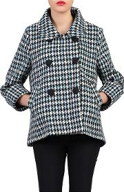Blue Houndstooth Wool Blended Jacket