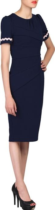 Blue Lace Trimmed Fold Bodycon Dress