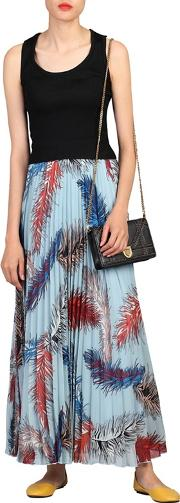 Blue Print Pleated Maxi Skirt