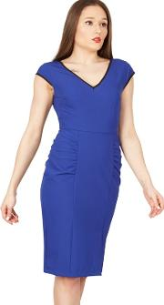 Blue Trimmed V Neck Cap Sleeve Bodycon Dress