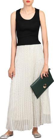 Cream Polka Dot Pleated Maxi Skirt
