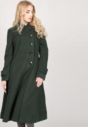Dark Green Asymmetric Buttoned Fit & Flare Coat