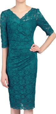 Dark Turquoise 34 Sleeves V Neck Ruched Lace Dress