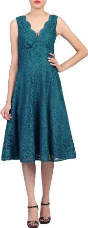 Dark Turquoise Scalloped V Neck Fit & Flare Lace Dress