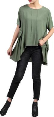 Green Side Ruched Comfy Blouse