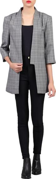 Grey Checked Open Front Blazer