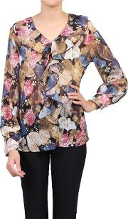 Khaki Printed Frilly Front V Neck Blouse