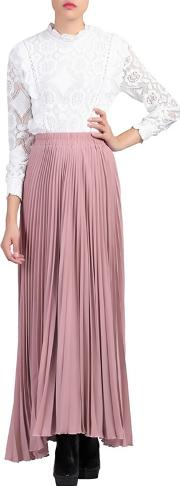 Light Pink Pleated Crepe Maxi Skirt