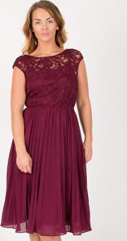 Maroon Lace Bodice Pleated Prom Dress