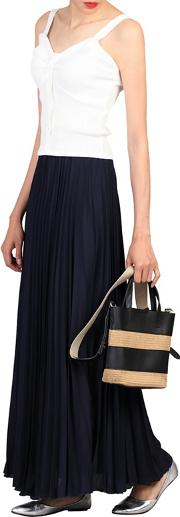 Navy Crepe Pleated Maxi Skirt
