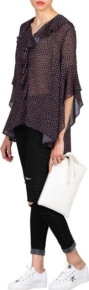 Navy Flare Sleeve Frilly Blouse