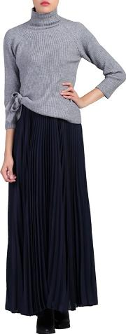 Navy Pleated Crepe Maxi Skirt