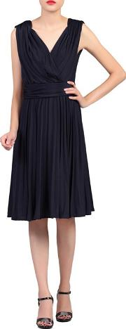 Navy Plunging Neck Pleated Dress