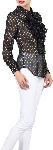 Navy Polka Dot Ruffle Shirt