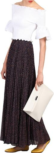 Navy Print Pleated Maxi Skirt