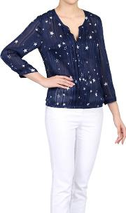 Navy Star Print Pleated V Neck Blouse