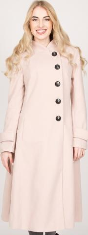Pale Pink Asymmetric Buttoned Fit & Flare Coat