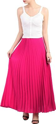 Pink Crepe Pleated Maxi Skirt