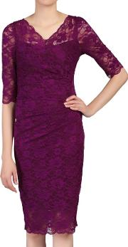 Plum 34 Sleeves V Neck Ruched Lace Dress