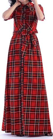 Red Checked Maxi Shirt Dress