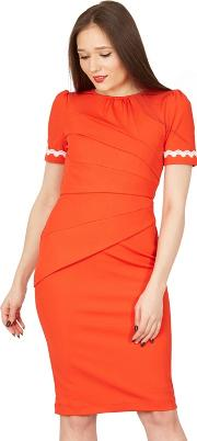 Red Lace Trimmed Fold Detail Bodycon Dress