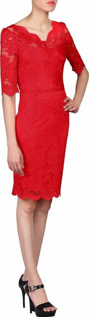 Red Scalloped V Neck Lace Bodycon Dress