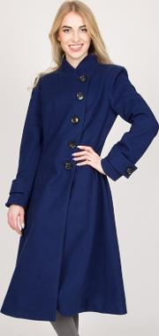 Royal Asymmetric Buttoned Fit & Flare Coat