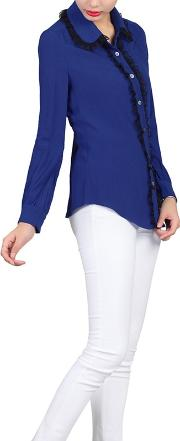 Royal Contrast Lace Trimmed Blouse