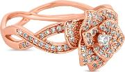 Crystal Pave Floral Twist Ring