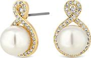 Gold Plated Clear Infinity Stud Earrings