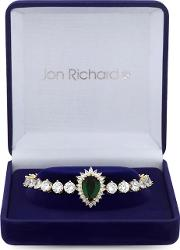 Gold Plated Green Cubic Zirconia Tennis Bracelet