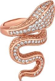 Rose Gold Pave Serpent Ring