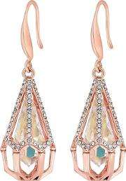 Rose Gold Plated Clear Swarovski Caged Raindrop Drop Earrings
