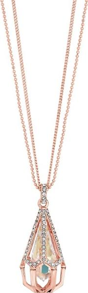 Rose Gold Plated Clear Swarovski Caged Raindrop Long Pendant Necklace