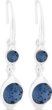 Silver Blue Crystal Double Drop Earrings Embellished With Swarovski Crystals