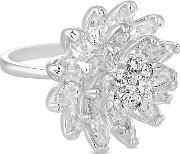 Silver Crystal Cluster Flower Ring