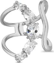 Silver Crystal Curved Ring