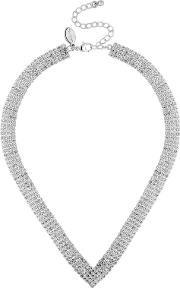Silver Crystal Diamante Statement Necklace