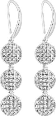 Silver Pave Cubic Zirconia Disc Drop Earrings