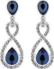 Silver Plated Blue Crystal Pave Montana Drop Earrings