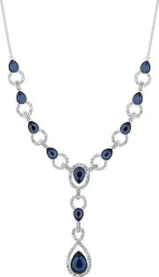 Silver Plated Blue Crystal Pave Montana Y Drop Lariat Necklace