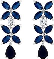 Silver Plated Blue Cubic Zirconia Floral Drop Earrings
