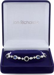 Silver Plated Blue Cubic Zirconia Halo Bracelet