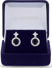 Silver Plated Blue Cubic Zirconia Halo Drop Earrings