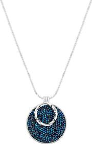 Silver Plated Blue Swarovski Polished Short Pendant Necklace