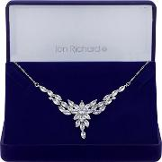 Silver Plated Clear Cubic Zirconia Navette Floral Short Pendant Necklace