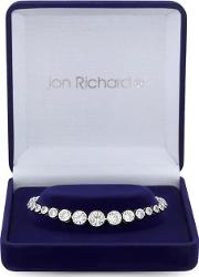 Silver Plated Clear Cubic Zirconia Polished Bracelet