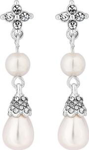 Silver Plated Clear Pearl Floral Drop Earrings