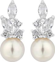 Silver Plated Clear Pearl Navette Drop Earrings